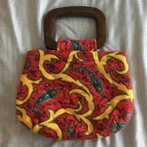 Handmade Vintage Retro Quilted Purse With Handles
